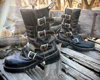 1990s Motorcycle Boots Women's Size 8 Biker Boots with Straps Zip-up Chunky Heel, Grunge Boots, Punk Boots, Goth Boots Women Combat Boots