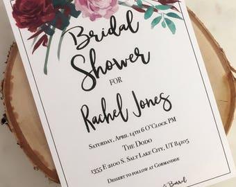 Printable Purple Garden Bridal Shower Invitation