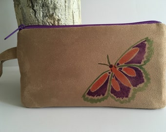 Cell phone wristlet, butterfly wristlet, prom wristlet, gifts for her, evening bag, suede, microfiber suede, bridal clutch, free shipping,