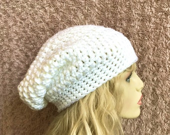 White Slouchy Crochet Hat