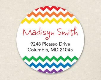 Rainbow Chevron Address Labels / Art Party Address Labels - Sheet of 24