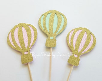 10 Hot Air Balloon Cupcake Toppers in Pink, Mint & Gold Glitter.  Baby Shower or Birthday Decorations. Up, Up and Away. 1st Birthday Decor