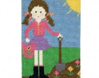Daisy Does Gardening,  Cleopatras Needle Tapestry Starter Kit, beginners tapestry kit, childrens tapestry, gardener