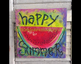 Happy Summer  Watermelon Art Wood hanging
