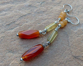 Long Sterling Silver & Gemstone Dangle Earrings. Carnelian Fluorite Red Aventurine . Rustic Southwest Boho Tribal Style Jewelry