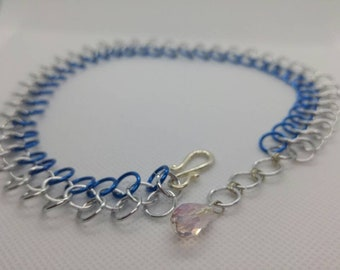 Blue and silver chainmail choker necklace | Anodized Aluminum necklace | Chainmaille Necklace