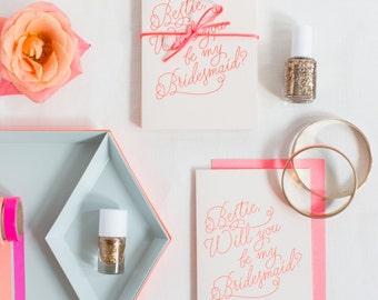 Set of 6 Bestie Bridesmaid neon pink letterpress cards (175)