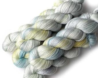 Hand Dyed Yarn Cashmere Silk Lace Yarn, 433 yards, Heirloom Eggs