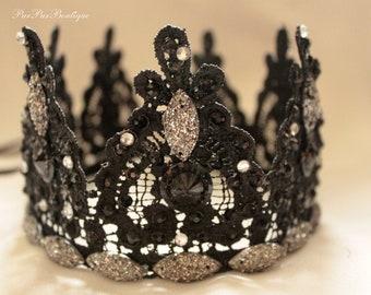 black Gothic Wedding Costume black silver Lace Crown Mistress Headpiece Black Crown Queen festive accessory Fascinator bachelorette party