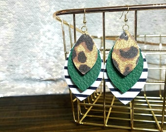 Kelly Green + Black/White Stripes + Leopard Print Leather Earrings