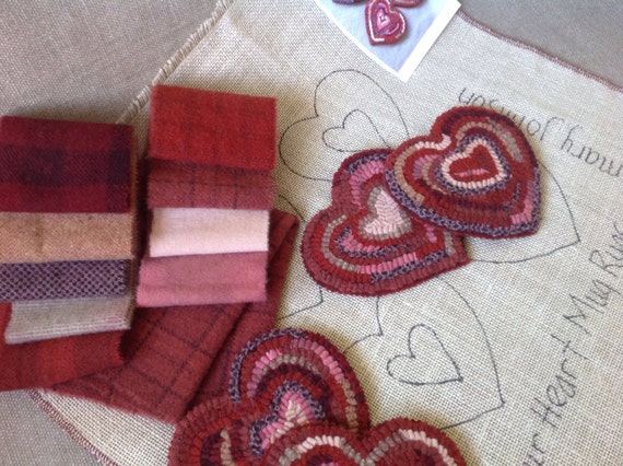 Rug Hooking Kit for Heart Mug Rugs, J873,  Primitive Rug Coasters DIY, Folk Art Hearts