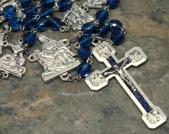 Stations of the Cross Chaplet in Czech Glass in Capri Blue; Catholic Chaplet, Prayer Beads, Large Chaplet