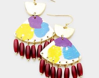 Painted Geometric Dangle Earrings Gold/Multi