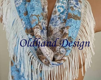 Handmade Extra Long Lace Scarf with White Fringes, Fringed Lace Festival Scarf