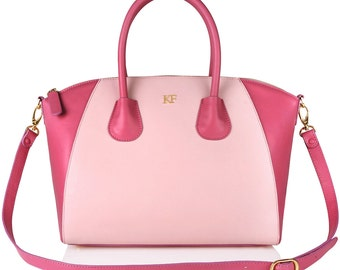 Leather Top Handle Bag, Pink Leather Handbag Top Handle, Women's Leather Bag KF-156