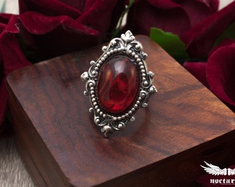 Red Stone Ring - Adjustable Ring - Victorian Ring - Ornate Silver Gothic Ring - Gothic Victorian Jewelry
