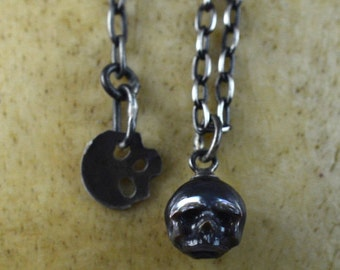 Black Hand Carved Pearl Skull on Oxidized Sterling Silver Chain with Skull Charm - Adjustable Necklace - Holiday Jewelry