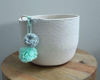 Basket rope coil bin storage organizer bowl pompoms natural mint grey by PETUNIAS