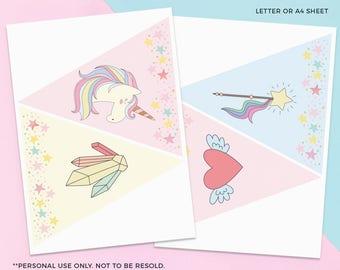 Unicorn bunting PRINTABLE, Unicorn flag bunting, Unicorn garland, Unicorn paper bunting, Unicorn paper garland decorations, Unicorn banner