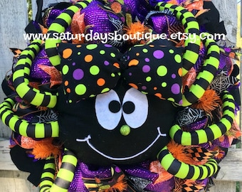 Deluxe Colorful Spider Halloween Wreath