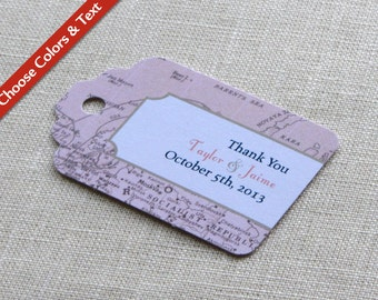 "Vintage Map Wedding Favor Tag - Luggage Tag Destination Travel - Bridal Baby Shower Gift Tag - Choose Colors and Wording - 2.75"" x 1.75"""