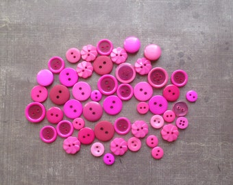 50 buttons round color shade hot pink