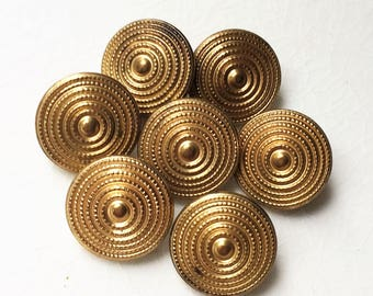 gold tone metal ribbed bullseye design eco friendly vintage buttons with mild tarnish--matching lot of 7