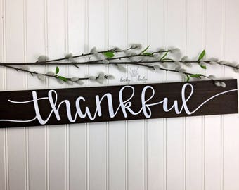 Thankful | Modern Rustic Wood Sign