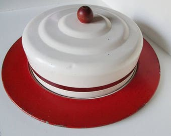 Mid Century Red and White Enamel Cake Plate and Cover