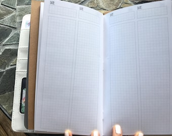 COLUMN GRID Daily Standard TN Inserts // Printed Traveler's Notebook Planner Inserts [76 Entries]
