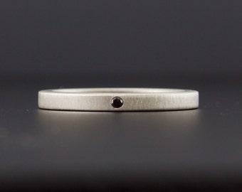 Sterling Silver Black Diamond Ring with matte finish, Minimalist Engagement Ring, Simple Wedding Band - Modern - Artisan