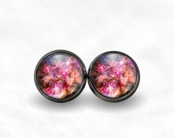 Pink Nebula Stud Earrings | Galaxy Earrings Space Jewelry Nebula Jewelry Bohemian Earrings Grunge Earrings Galaxy Studs Boho Pink Studs