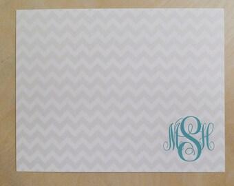 Personalized Custom Monogram Stationery Flat Notecards - Chevron Stationary - Set of 25