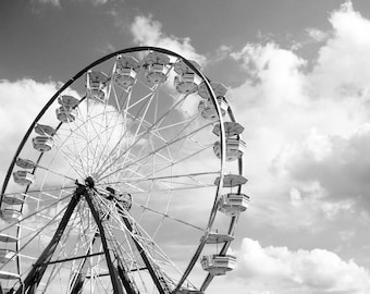 Ferris Wheel 5x5 Signed Print Black and white Carnival art