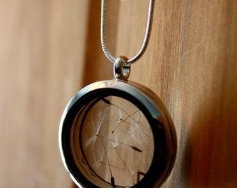 Silver dandelion necklace, terrarium necklace, wish necklace