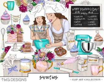 Mothers Day Baking Fashion Girl Clip Art Watercolor Clipart PNG Cake Cupcake Sweets Cookies Kids Flowers Hand Drawn Planner Sticker Graphics