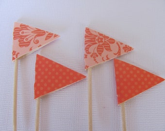 Flag Food Picks, Flag Cupcake toppers, Set of 24, Coral and Pink