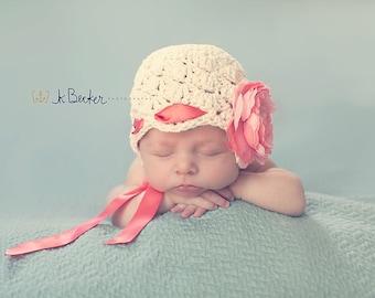 newborn girl hat, baby hat, newborn hat, girls hat,  baby girl hat,  crochet girls hatkids hat, girls hat,  hat with peony, girl hat
