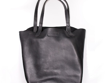 Leather Tote Bag in Premium Quality, Grained Leather with Reinforced Handles - DORNEY HANDMADE