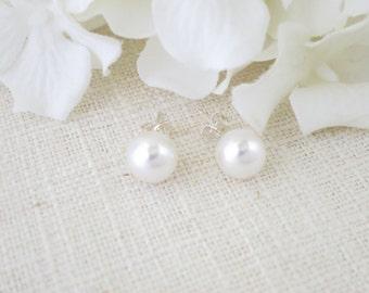 Swarovski pearl stud earrings, Simple pearl wedding earrings, 8mm pearl bridal earrings, Pearl post earrings, Bridesmaid earrings