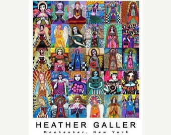 50% SALE- Angel Mosaic Virgin of Guadalupe  Art Print Poster by Heather Galler  Mexican Folk Art by Heather Galler (HG132)