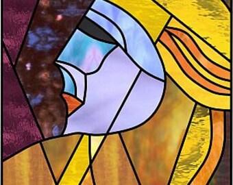 Artdeco woman.Stainedglass pattern