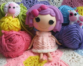 Crochet Pattern for Lalaloopsy Doll Clothes Cotton Candy Dress PDF Instant Download