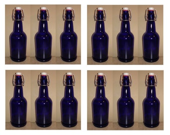 New Blue Glass Swing-Top Bottles -- Case of 12 16z EZ-Cap Bottles for Beer or Soda, Grolsch Flip-Style