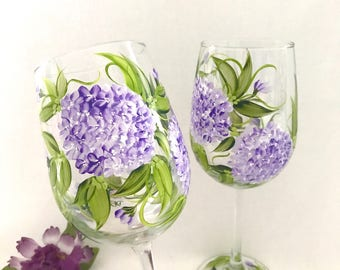 Lavender Hydrangeas pair of hand painted wine glasses free shipping