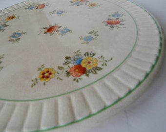 Shabby Chic Floral Cake Cookie Pie Plate - Vintage Kitchen Decor - Hand Painted Made in Japan - 1930s