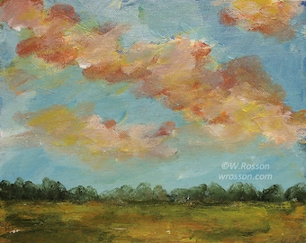 Colorful Clouds Painting, Original Painting, Landscape Painting, Winjimir, Home Decor, Office, Wall Art, Gift, Blue Sky, Field, Trees, Art