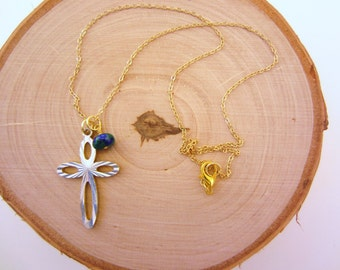 Cross necklace. Gold charm necklace. Vintage upcycled cross. Reversible. Wire wrapped blue and green stone bead. Christian jewelry.