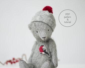 PDF Sewing Pattern & Tutorial Mohair Teddy Bear Bullfinch Embroidery 7 Inches Stuffed Animal Pattern Artist Teddy Bear Pattern For Women
