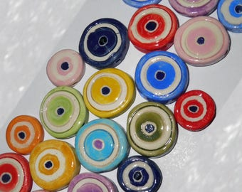 Ceramic Eye Beads 3cm Handmade Evil Eye Beads in 8 Colors -  Greek Traditional for Good Luck - Evil Eyes - Handmade Ceramic Beads